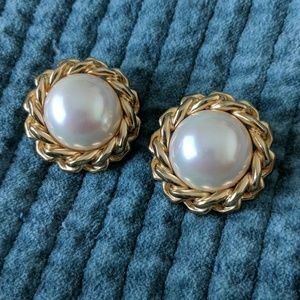 Vintage Dior Pearl and Chain earrings